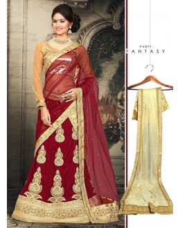 Traditional Red & Beige Velvet Lehnega Choli -73071
