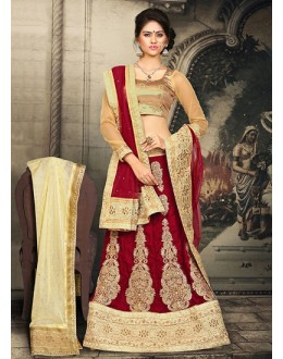 Bridal Red & Beige Velvet Lehnega Choli -73072