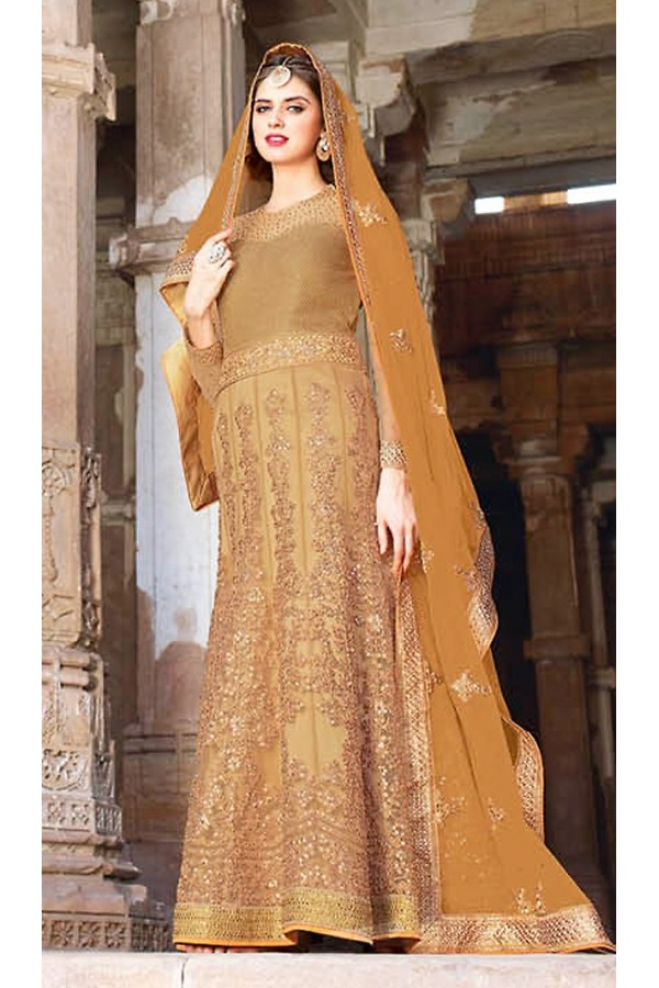 Bridal Tan Brown Net Embroidered Anarkali Suit - 73089