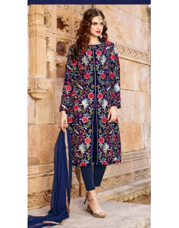 Party Wear Navy Blue Satin Salwar Kameez - 73091