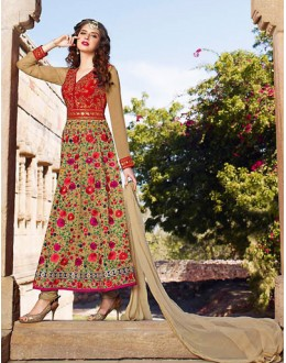 Party Wear Red & Tan Brown Silk Anakali Suit - 73092