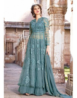 Party Wear Grey Net Anakali Suit - 73093
