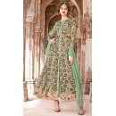 Trditional Brown & Green Net Salwar Kameez - 73094