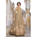 Fancy Tan Brown Net Embroidered Lehenga Suit - 73096