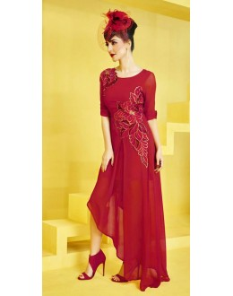 Fancy Readymade Red Georgette Kurti - 73098