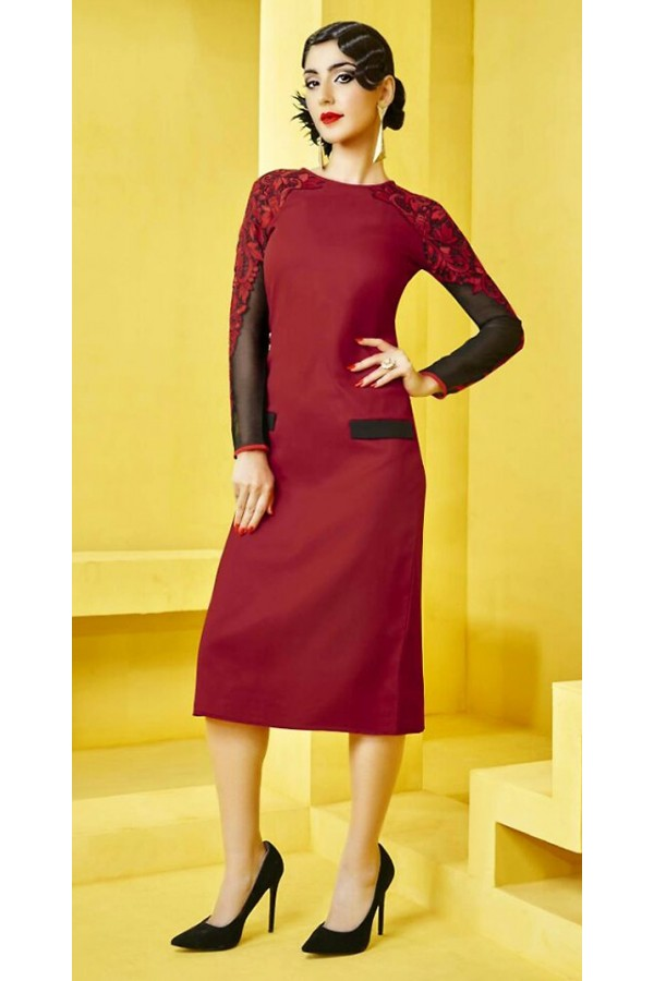 Office Wear Readymade Red Georgette Kurti - 73101