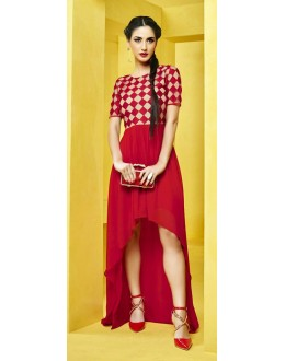 Fancy Readymade Red Georgette Kurti - 73107