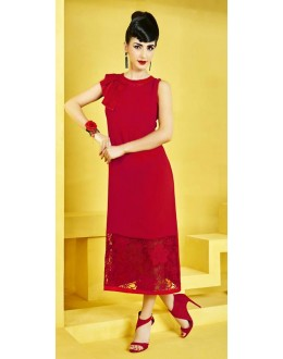 Party Wear Readymade Red Georgette Kurti - 73108