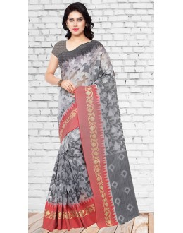 Party Wear Grey Chanderi Silk Saree  - 73125