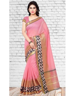 Party Wear Pink Chanderi Silk Saree  - 73123