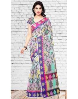 Party Wear Multicolour Chanderi Silk Saree  - 73135