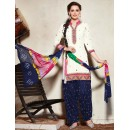 Ethnic Wear Off White & Navy Blue Cotton Patiala Suit - 73156