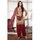 Party Wear Brown & Maroon Cotton Patiala Suit - 73157