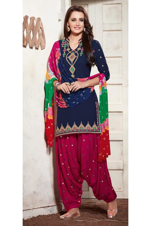 Party Wear Navy Blue & Pink Cotton Patiala Suit - 73161