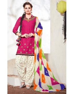Office Wear Pink & Off White Cotton Patiala Suit - 73162