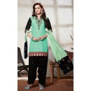 Ethnic Wear Turquoise & Black Cotton Patiyala Suit - 73163