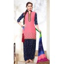 Ethnic Wear Pink & Navy Blue Cotton Patiyala Suit - 73165