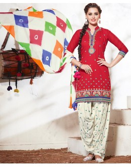 Office Wear Red & Off White Cotton Patiala Suit - 73166