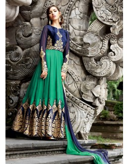 Designer Green & Navy Blue Velvet Anarkali Suit - 73170