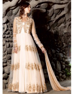 Fancy White Net Embroidered Anarkali Suit - 73175