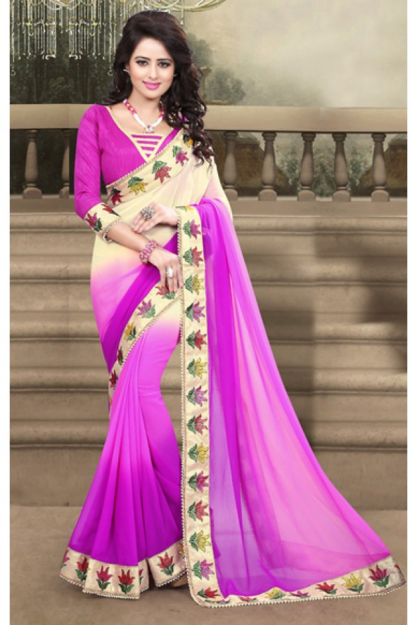 Casual Wear Pink Georgette Saree  - 73208