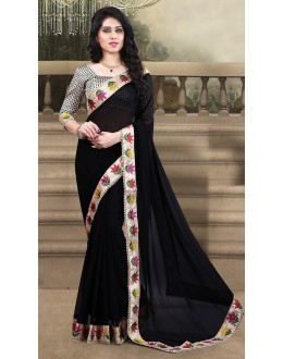 Casual Wear Black Georgette Saree  - 73209