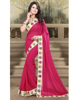 Traditional Pink & Blue Georgette Saree  - 73212