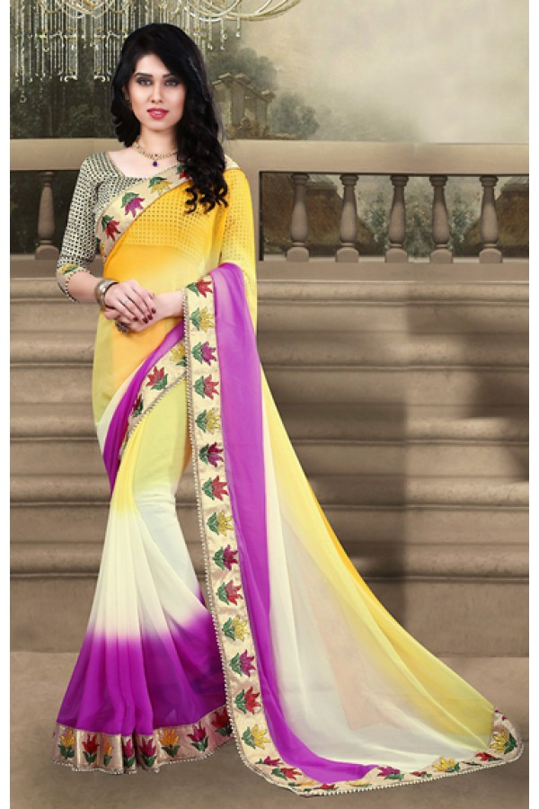 Traditional Yellow & Cream Georgette Saree  - 73213