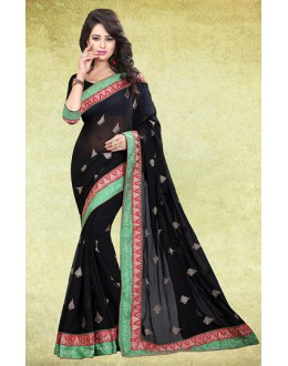 Party Wear Black Chiffon Saree  - 73218