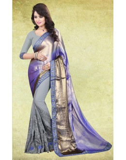 Ethnic Wear Grey Satin Embroidered Saree  - 73222