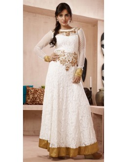 Party Wear White Georgette Embroidered Anarkali Suit - 73227