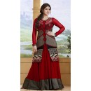 Traditional Maroon Georgette Embroidered Anarkali Suit - 73233