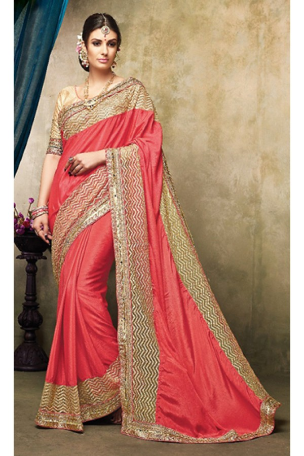 Party Wear Red & Beige Chiffon Saree  - 73255