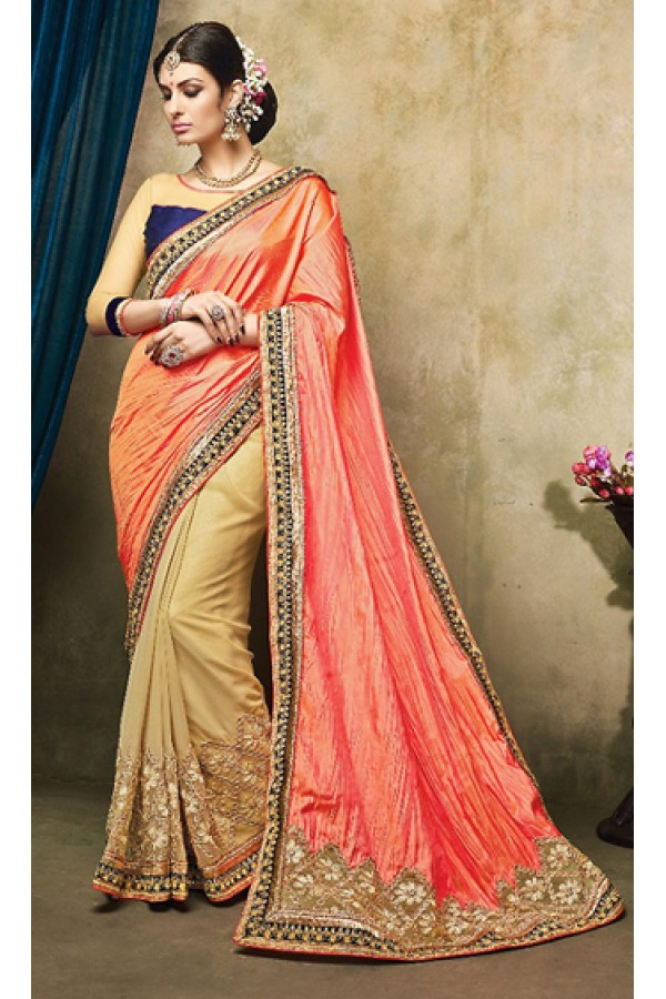 Designer Orange & Beige Georgette Saree  - 73256
