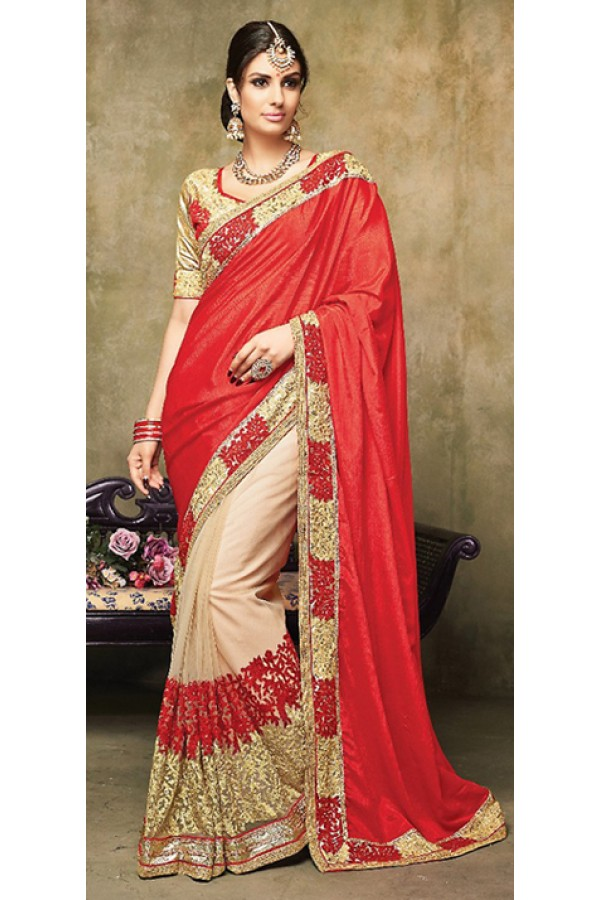 Ethnic Wear Red & Beige Satin Saree  - 73258