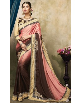 Party Wear Pink & Brown Satin Saree  - 73265