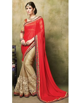 Traditional Red & Beige Satin Saree  - 73268