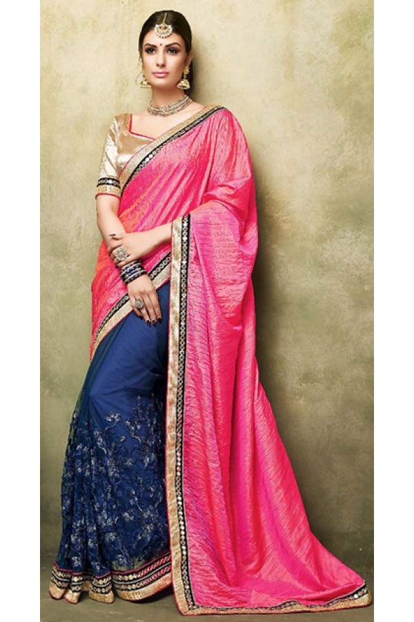 Party Wear Pink & Blue Satin Saree  - 73269