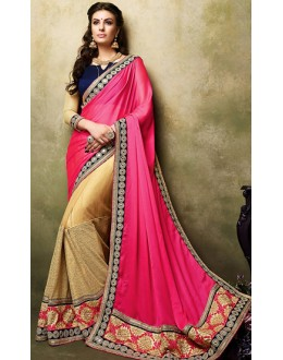 Party Wear Pink & Beige Net Saree  - 73270