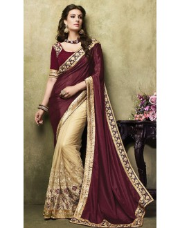 Designer Maroon & Beige Net Embroidered Saree  - 73271