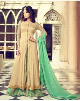 Party Wear Beige & Green Georgette Palazzo Suit - 73318