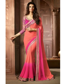 Party Wear Pink Georgette Saree  - 73302