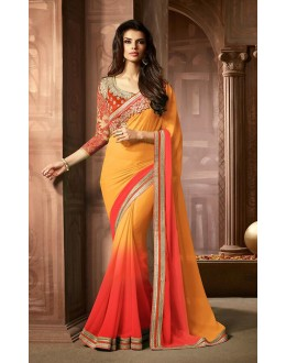 Party Wear Yellow & Red Georgette Saree  - 73303
