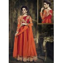 Party Wear Red & Orange Georgette Anarkali Suit - 73341