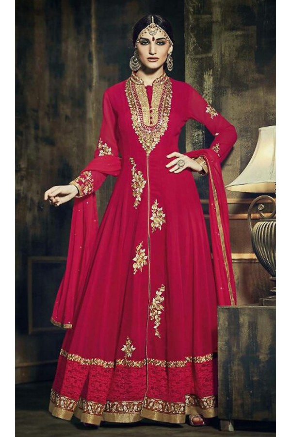 Designer Red Chiffon Embroidered Anarkali Suit - 73344