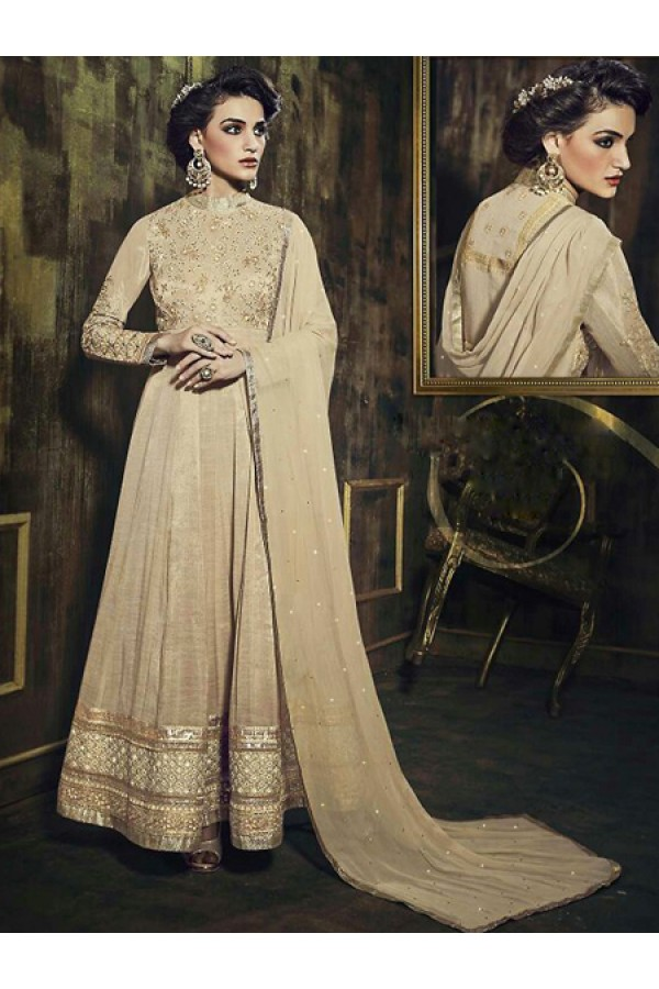 Party Wear Tan Brown Silk Embroidered Anarkali Suit - 73345