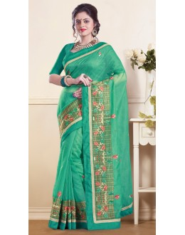 Party Wear  Green Super Net Saree  - 73349