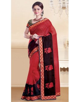 Ethnic Wear Red & Black Super Net Saree  - 73350