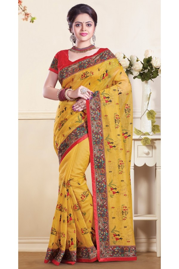 Ethnic Wear  Yellow & Red Super Net Saree  - 73351
