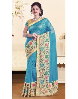 Party Wear Sky Blue & Gold Super Net Saree  - 73352